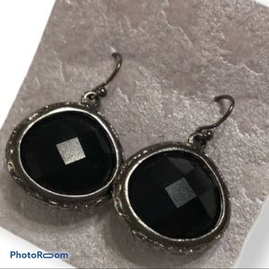 Multifaceted onyx and silver drop earrings